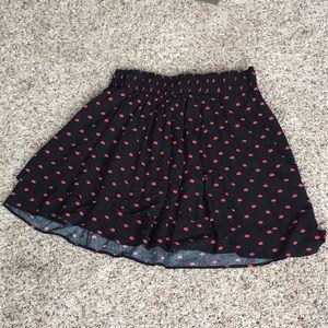 Torrid black layered flare type skirt with kisses